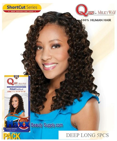 MilkyWay Que Human Hair Weave Short Cut Series - Deep Long 5pcs